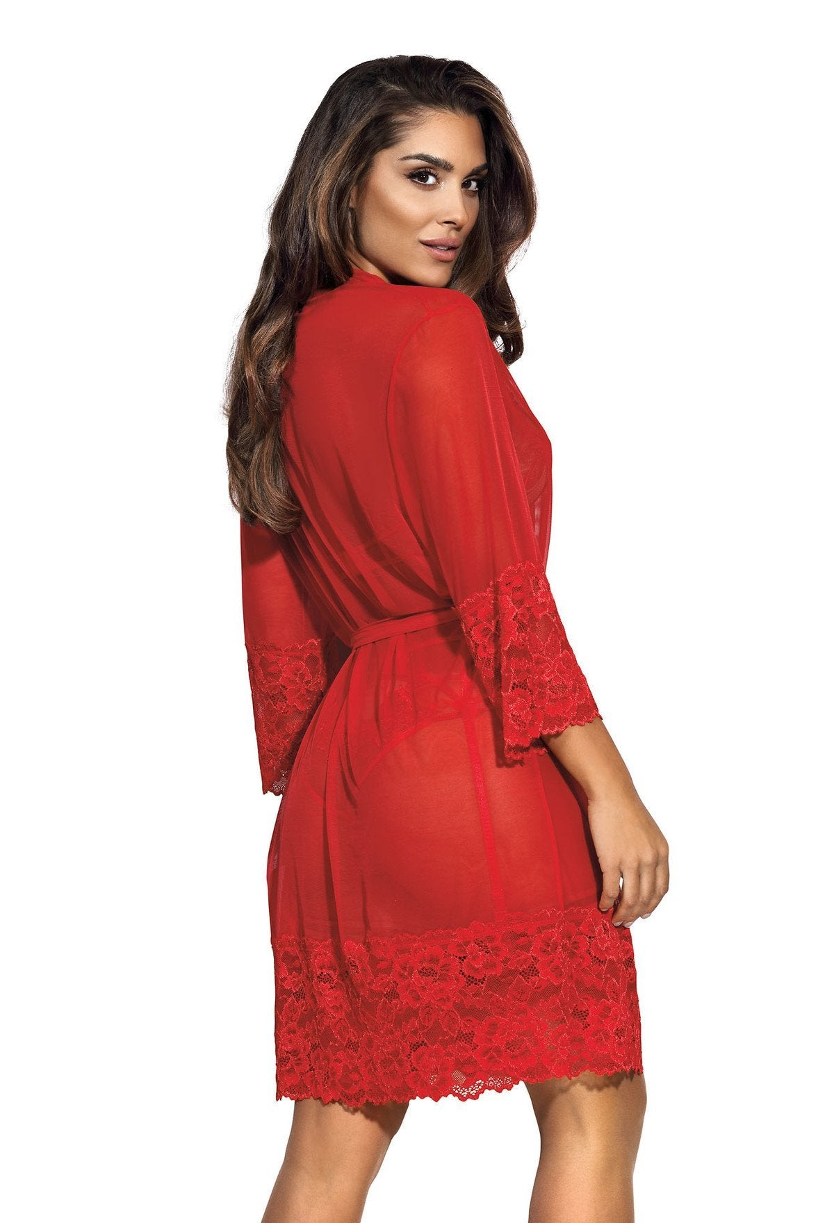 Axami V-8860 Red Lace Peignoir