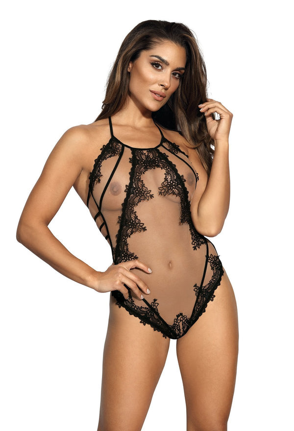 Sheer Beige & Black Lace Bodysuit