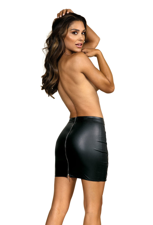 Wet Look Black Mini Skirt
