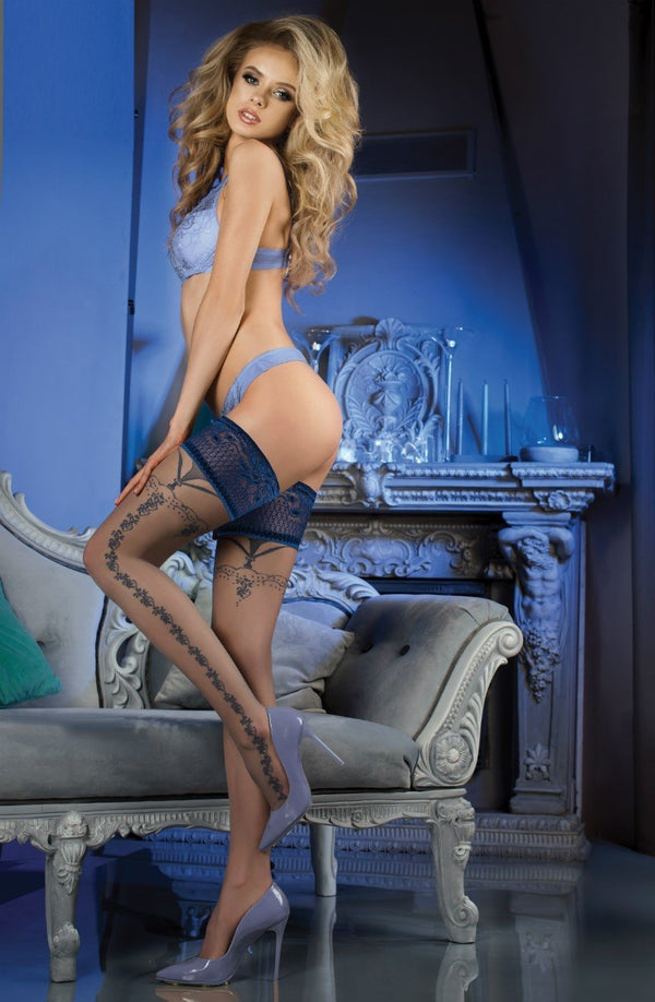 Navy Blue Lace Top Black Patterned Hold Ups
