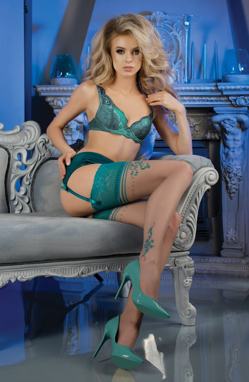 Ballerina 476 Hold Ups with Turquoise Lace Top