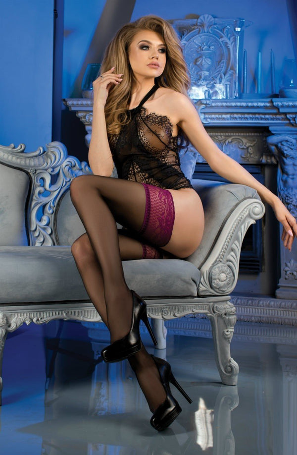 Ballerina 479 Black Hold Ups With Purple Lace Top