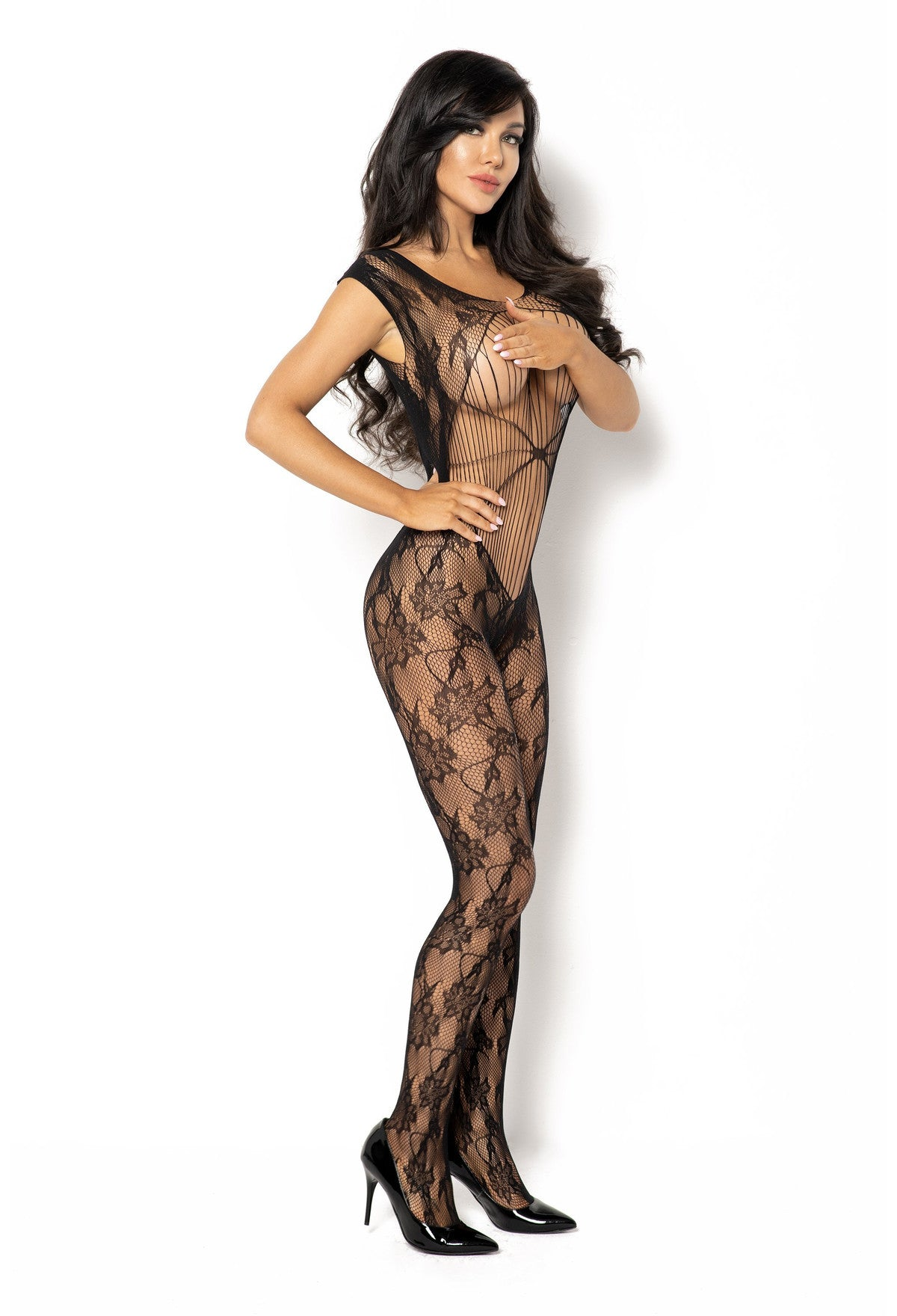 Kiara Black Crotchless Bodystocking