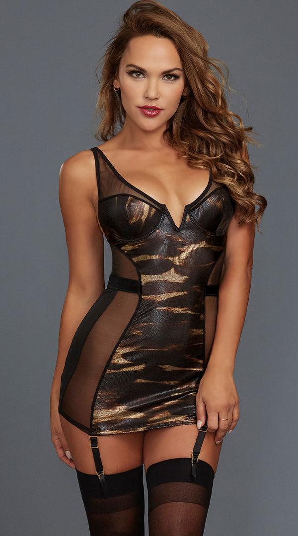 Black & Gold Stretch Power Mesh Gartered Chemise
