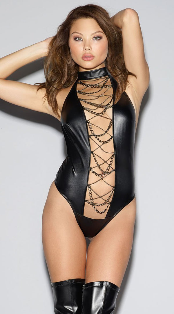 Wet Look Choker Teddy With Chain Detail