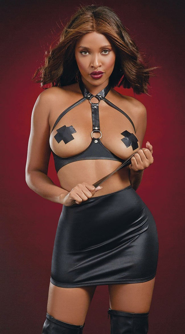 Faux Leather Open Cup Harness & Spanking Skirt