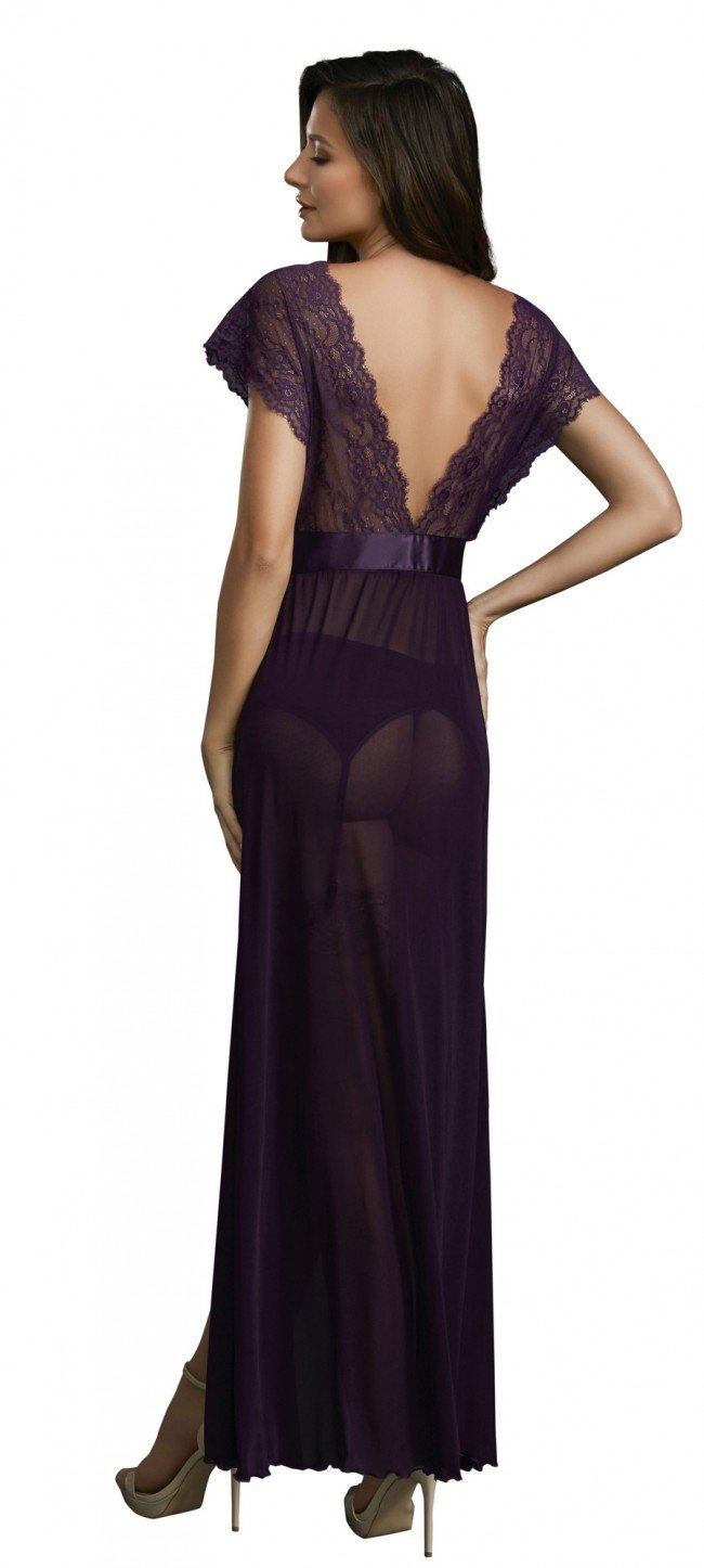 Dreamgirl Lace Gown with Garter Belt Set Plum