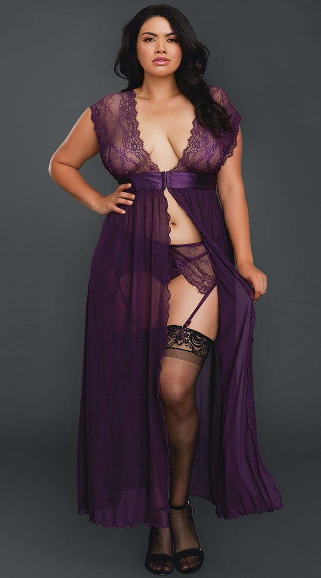 Dreamgirl Plus Size Lace Gown with Garter Belt Set Plum