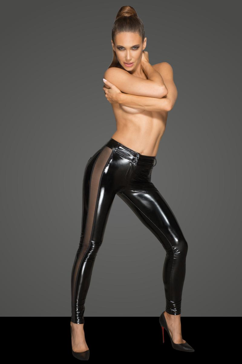 F202 Noir Handmade PVC leggings with tulle inserts