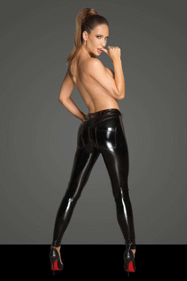 F202 Noir Handmade PVC leggings with tulle inserts back