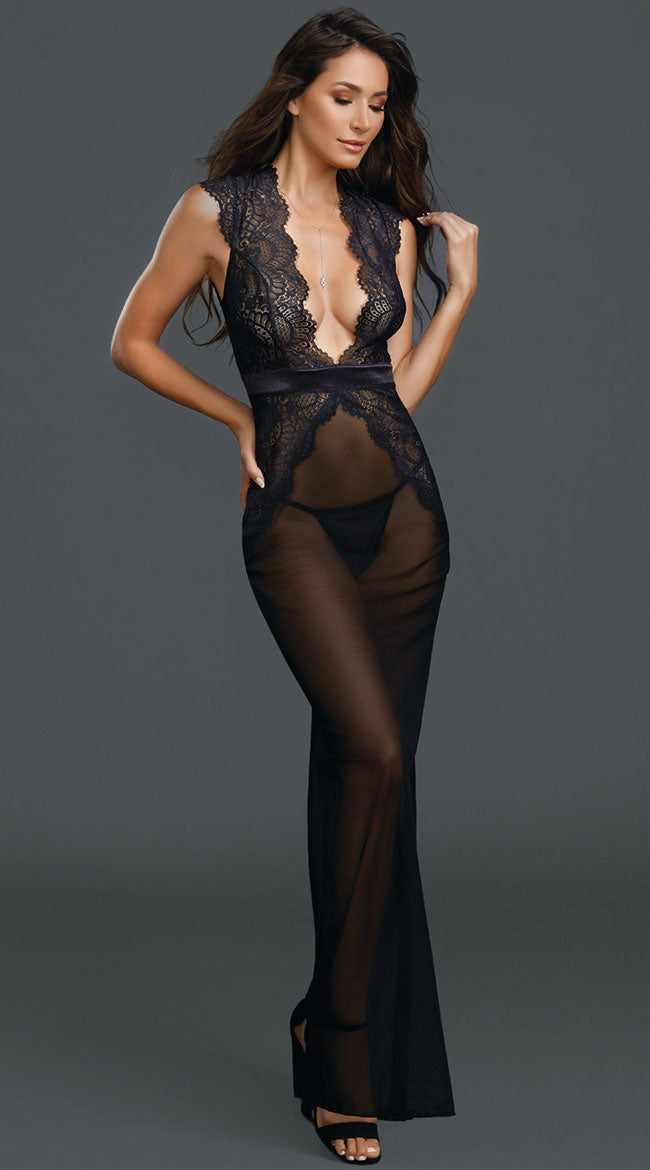 Floor Length Sheer Black Gown