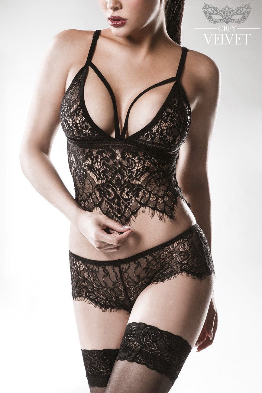 Grey Velvet 2 Piece Lace Bustier Set Black