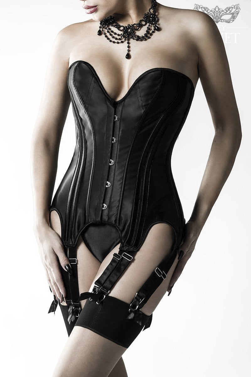 Grey Velvet Black Satin Garted Corset