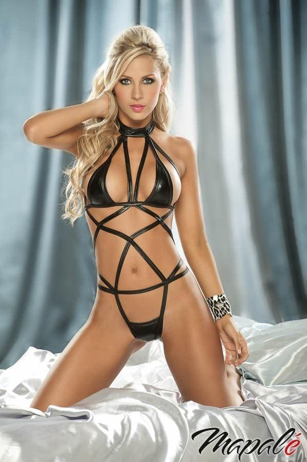 Mapale Metallic Black Strappy Bodysuit
