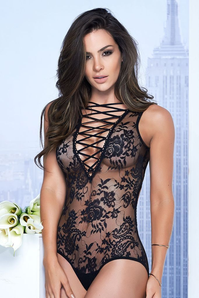 Mapale Plunging Lace-Up Teddy Black
