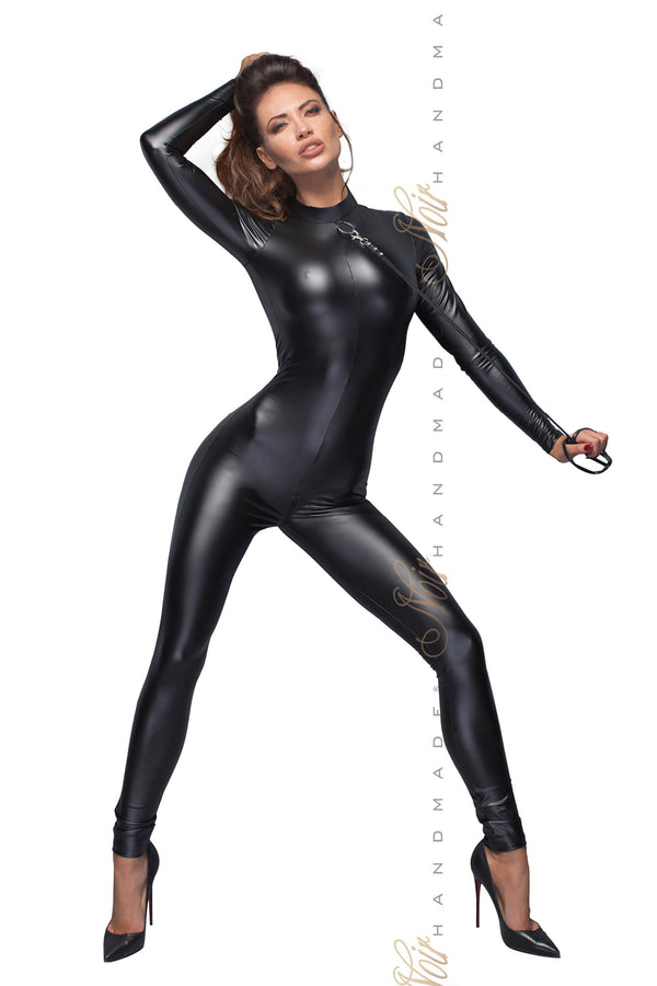 Power Wetlook Catsuit With Leash