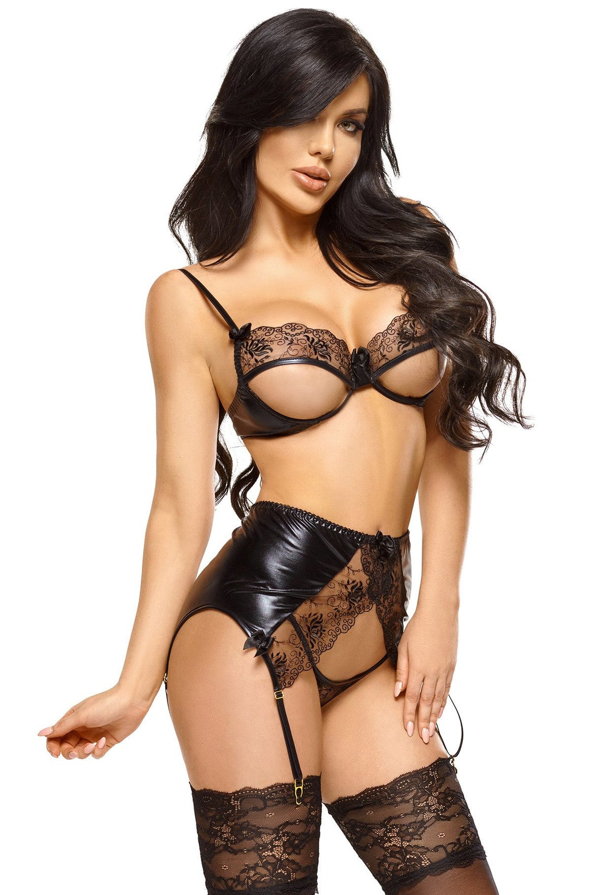 Narine Wet Look Lingerie Set