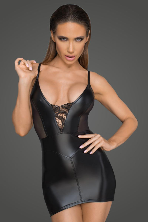 Noir Handmade Black Powerwetlook Mini Dress With Tulle Inserts & Corset Cuts F205