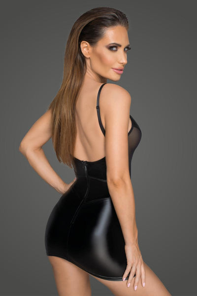 Noir Handmade Black Powerwetlook Mini Dress With Tulle Inserts & Corset Cuts F205 Back