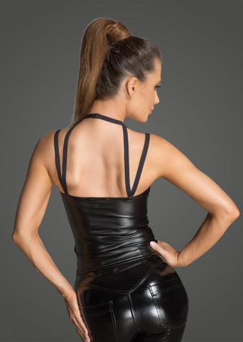 Noir Handmade Black Wet look Top With Choker F203 Back