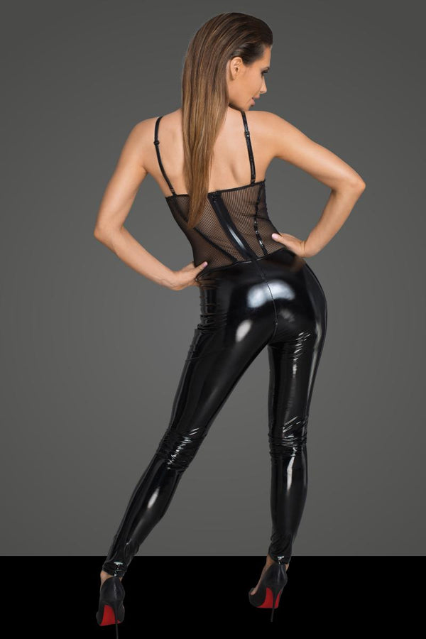 Noir Handmade PVC And Striped Tulle Catsuit F200 Back