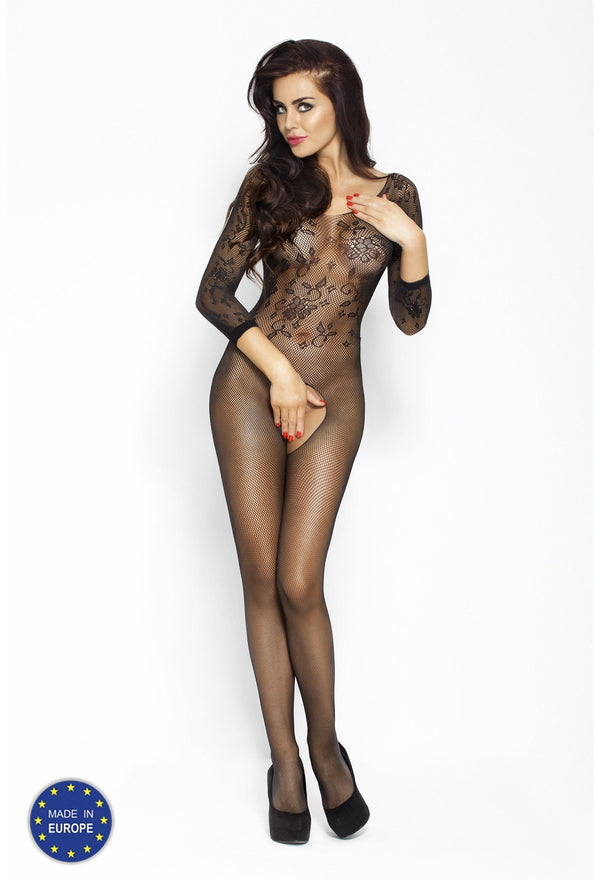 Crotchless Long Sleeved Black Bodystocking BS007