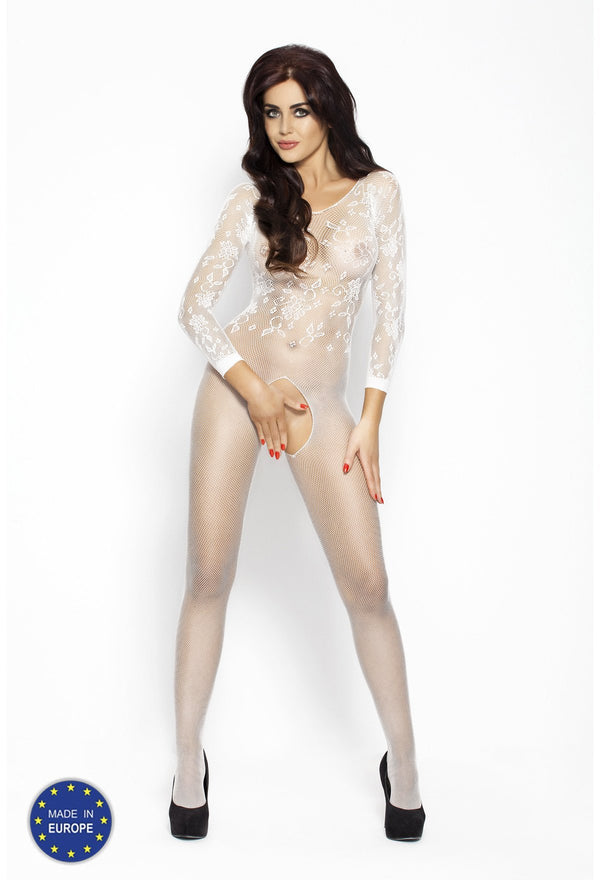 Crotchless Long Sleeved White Bodystocking BS007