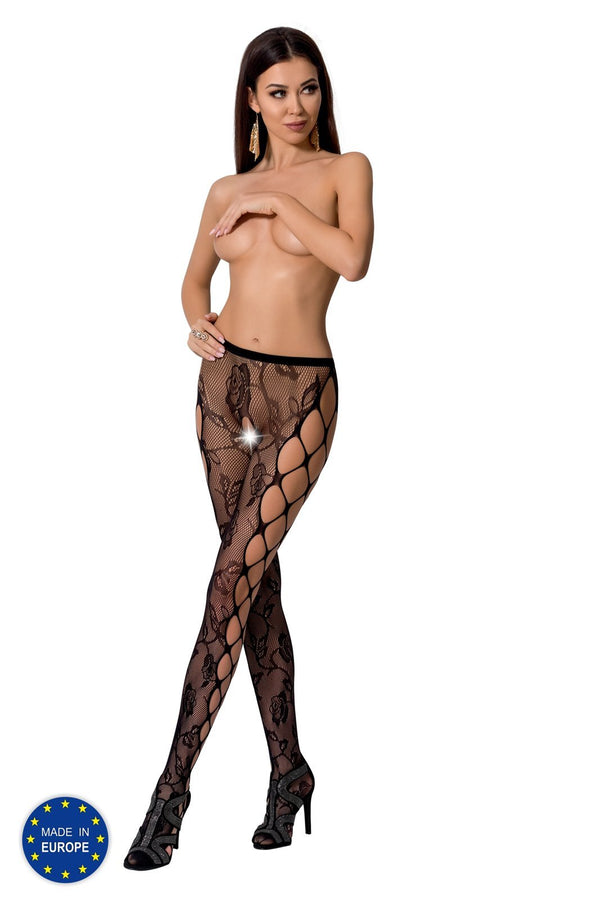 Black Crotchless Floral Lace Tights