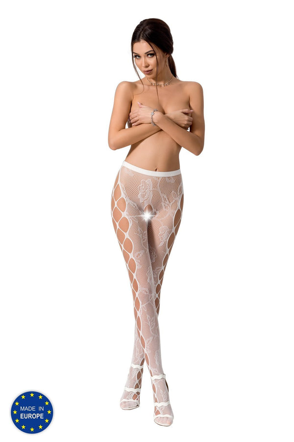 White Crotchless Floral Lace Tights