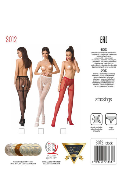 Passion Crotchless White Tights S012