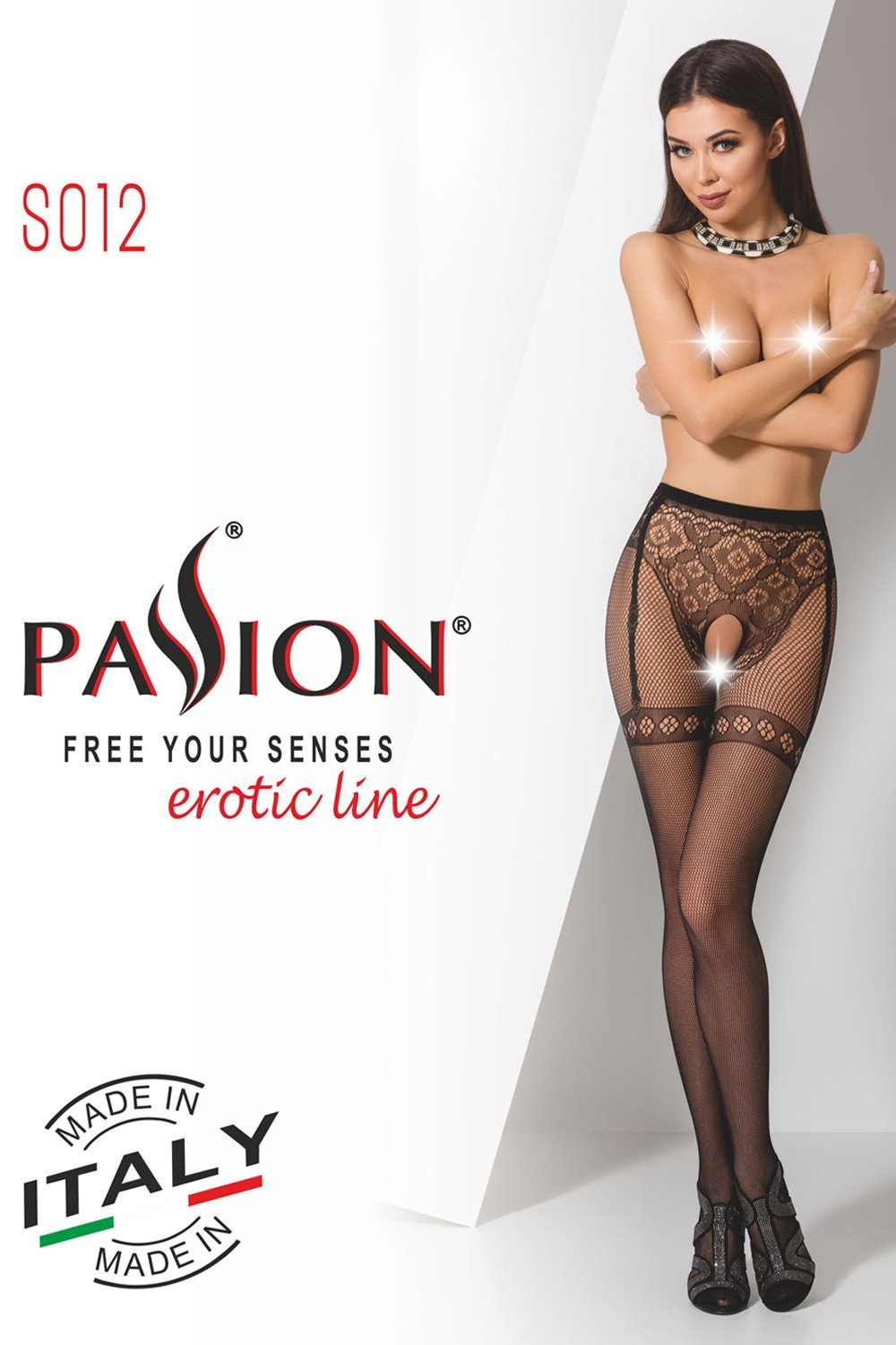 Passion Crotchless Tights S012 Black