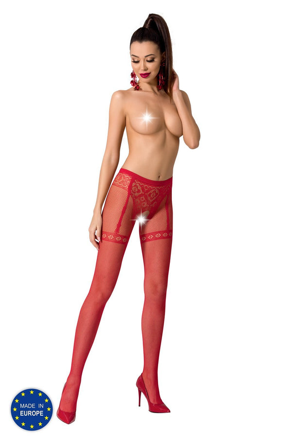 Red Crotchless Tights S012
