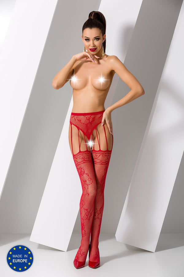 S016 Red Crotchless Suspender Tights