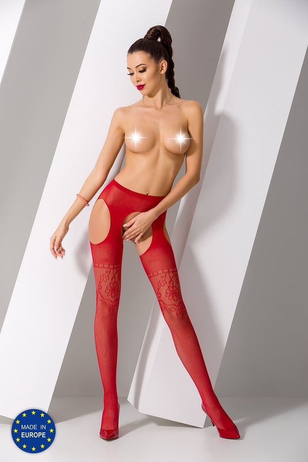 S017 Red Crotchless Suspender Tights