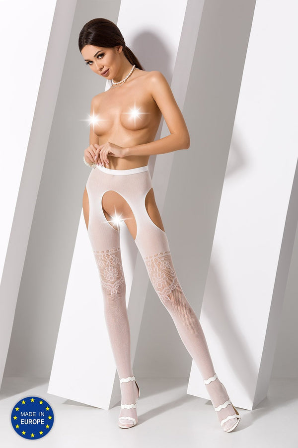 S017 White Crotchless Suspender Tights