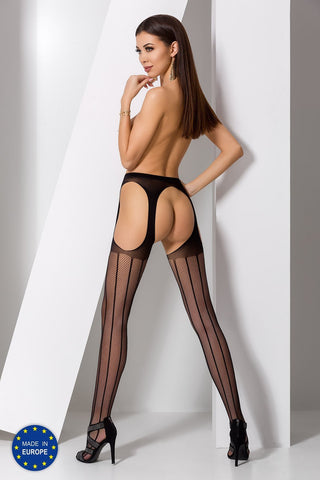 S018 Crotchless Black Tights