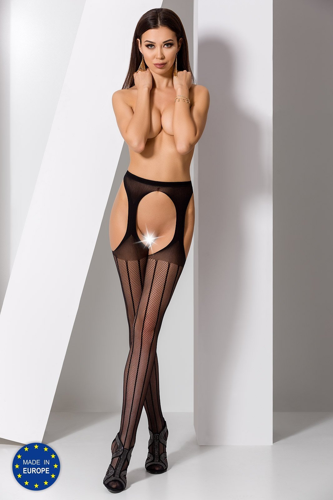 Passion S018 Crotchless Black Tights