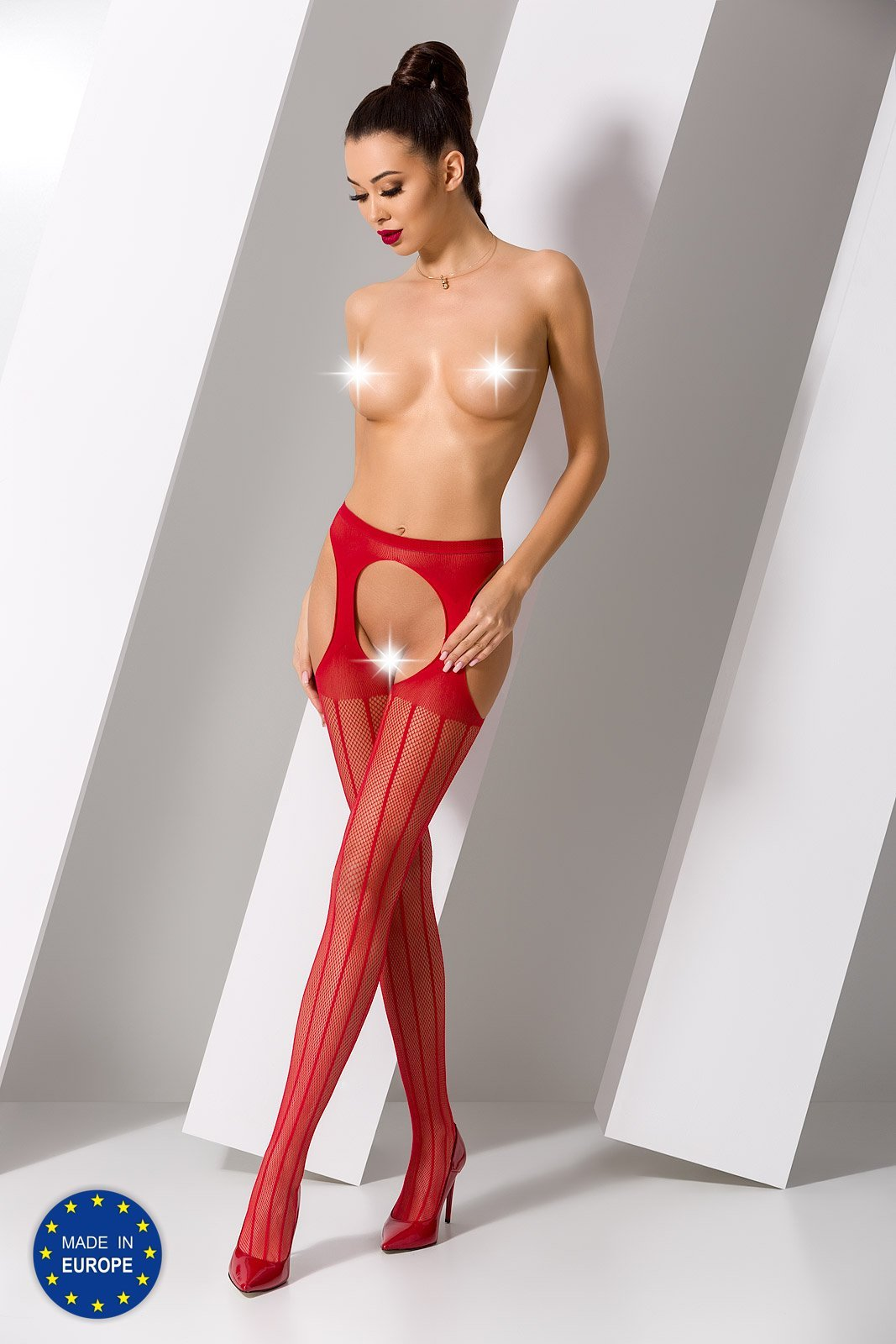 Passion S018 Crotchless Red Tights