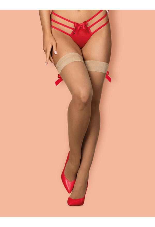 S808 Nude Stockings with Red Back Seam