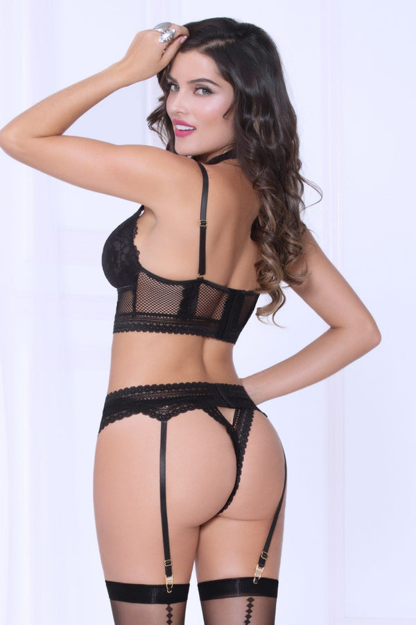 Net Black Bra & Garter Set