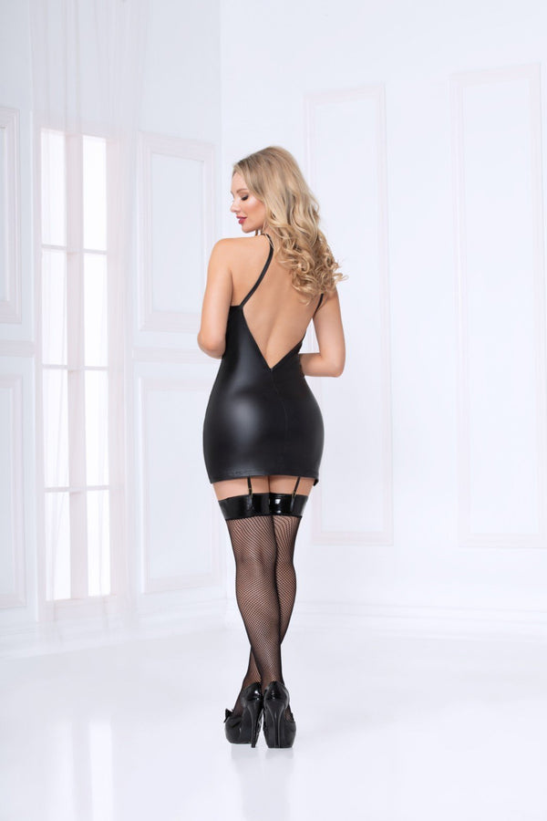 Seven Til Midnight Wetlook Lace Up Chemise