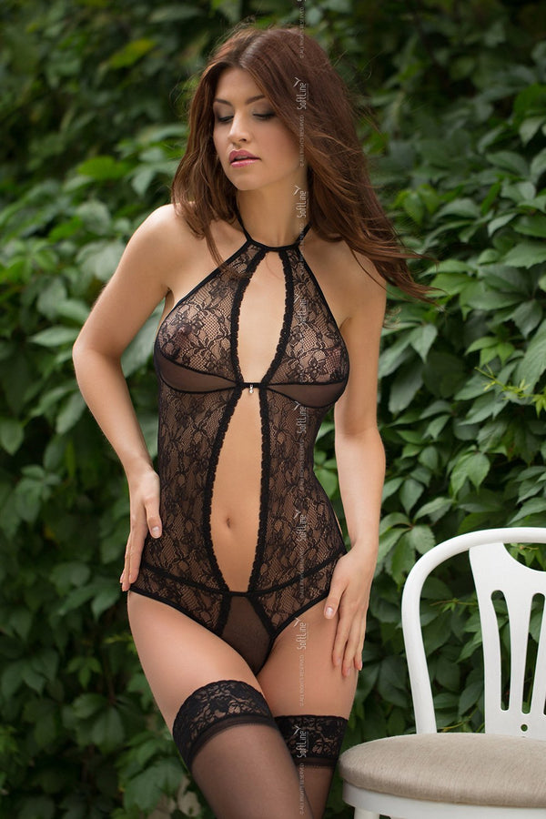 Softline Sheer Black Bodysuit