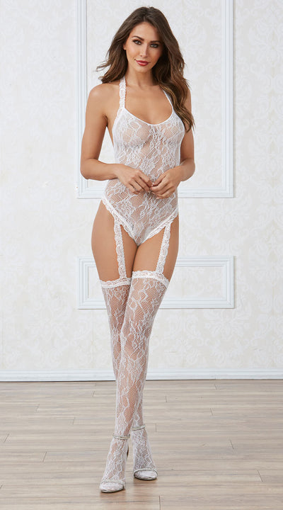 White Lace Teddy Bodystocking