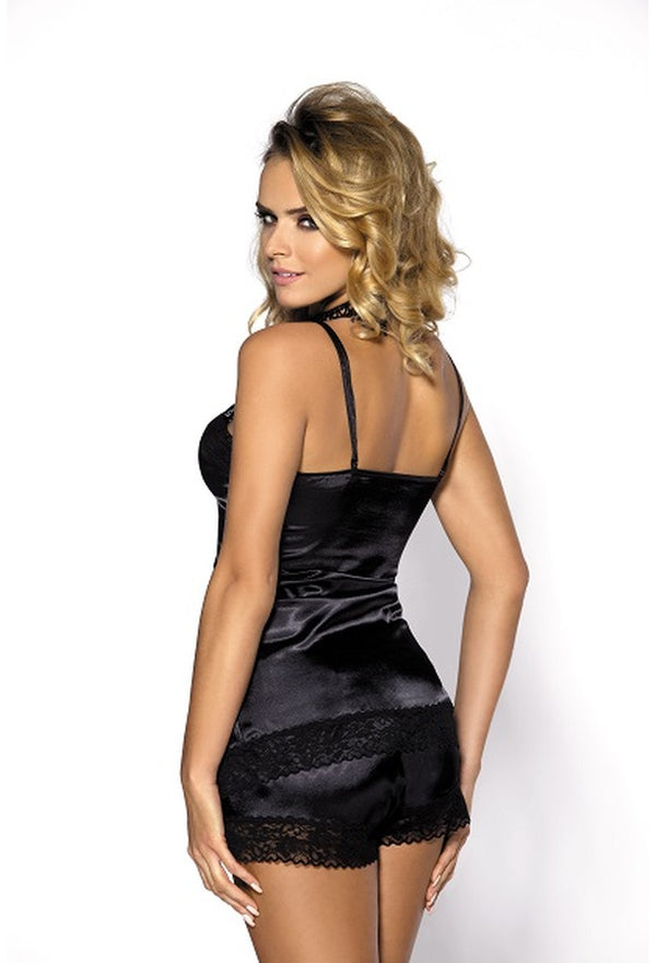 Bernie Black Satin Camisole Set