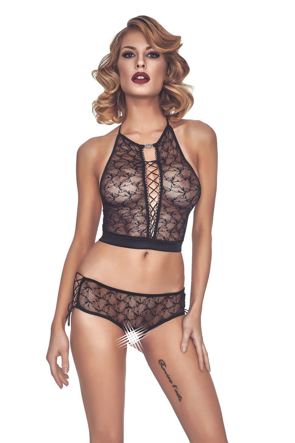 Anais Lingerie Set UK 8-10 / Black Cristal Set