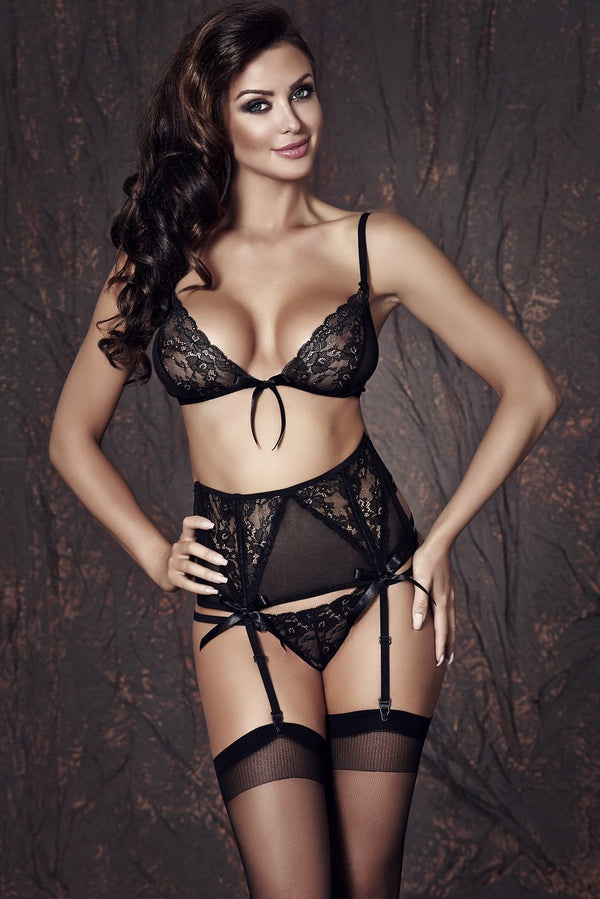 Anais Lingerie Set UK 8-10 / Black Sapphira 3 piece Set