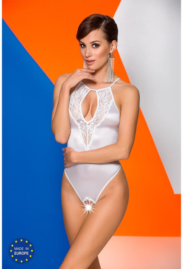Catalina White Crotchless Bodysuit