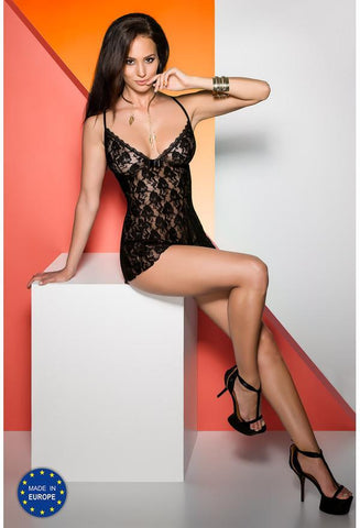 Daiva Black Floral Lace Chemise