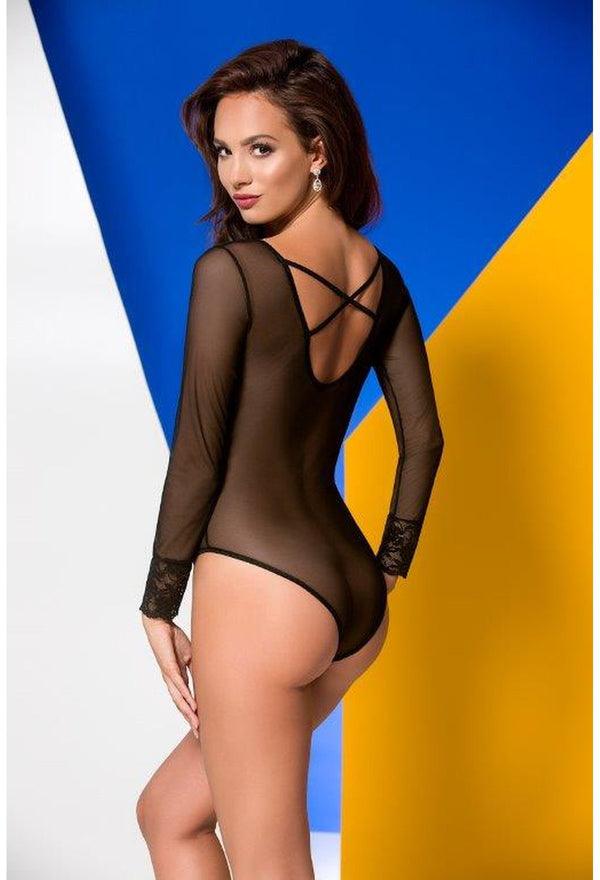 Lou Black Crotchless See Through Bodysuit