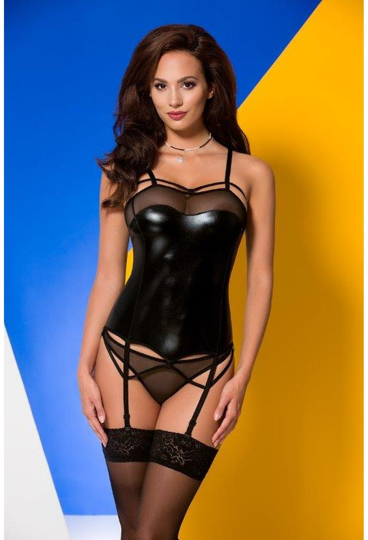 Avanua Muriel Black Wet Look Corset